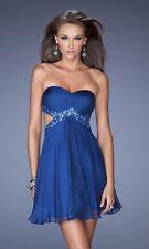 $278 NWT LA FEMME 19430 MARINE BLUE Cutout Strapless Rhinestone MINI DRESS,sz.8