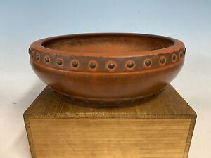 """Beautiful Drum Unglazed Japanese Made Bonsai Tree Pot  11 1/2 By 3 5/8"""" Patina!"""