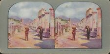 Coloured Vintage 3D Stereoview Card - The Foro Civile, Pompeii, Italy
