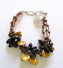 "Bracelet-Freshwater Pearls-baroque gold color- black beads- 7.25"" - 8.75"""