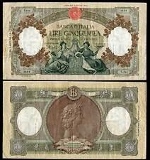 BANCONOTA Italia Lire 5.000 Repubbliche Marinare Medusa Rara 2 D.M. 13-08-1956
