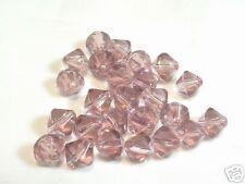 25 x 6 mm Verre Bicone Perles: bnpg58 vieux rose