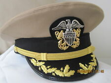 "USN DRESS KHAKI  UNIFORM - CAPT/CDR KHAKI  VISOR HAT  SIZE 7 7/8 ( #25"")"