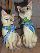 """VTG. Set of 2 CERAMIC Siamese Cat Figurines! 7"""""""