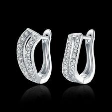 925 Sterling Silver Plated CZ Cubic Huggie Hoop Small Earrings Men Women