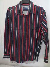 Wrangler X Long Tails Stripe Dress Shirt Blue Red White Long Sleeve 2 pocket