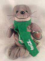 Vintage 1998 Coca Cola Coke Seal Green Scarf Plush Toy Christmas Bean Bag