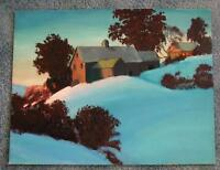 AMERICANA FOLK ART HOUSE BLUE SKY AUTUMN TREES LANDSCAPE RHODE ISLAND PAINTING