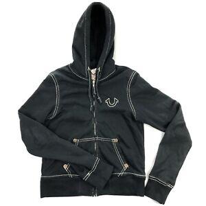 True Religion Womens Medium Black Thick Stitch Full Zip Designer Hoodie Jacket