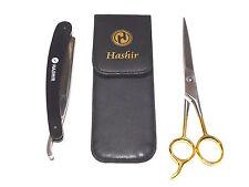 Straight Razor Folding Knife + Carry Case + ICE Barber Hair Cutting Scissors