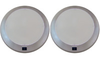 2 x Caravan Light Ceiling Roof Fluro Light 250mm Dual Mode Switched Silver Frame