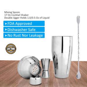17oz Cocktail Shaker Set Bar Accessories Kit Sliver Bartender Home+Mixing Spoon