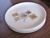 """FIVE Taylor Smith Taylor Brocatelle 10"""" Dinner Plates, Ever Yours, Vintage 1957"""