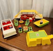 Vintage Fisher Price Little People Family Jeep & Pop-Up Camper Set #992 15 Pc