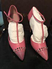 Gucci Malaga Kid Studded Pumps, Size 39.5 Pink, Brand New With Box