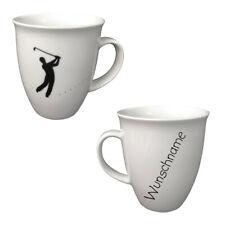 Becher aus Porzellan Golf Kaffeebecher personalisierbar mit Wunschname Name