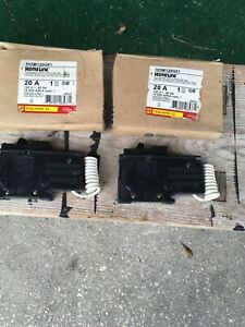 SQUARE D HOM120GFI 20 Amp GROUND FAULT CIRCUIT BREAKER Lot Of 2 NEW