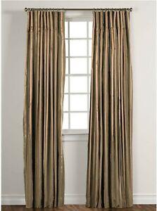 Ethan Allen Silk Taffeta Stripe Moss Gold Drapery Inverted Pleat Curtain Panel
