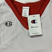Champion Athleticwear V-Neck White Red Training Sleeveless Jersey NEW W/Tags S