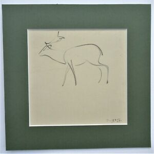 Norman Dudley Short (British), Stag, original pen and ink drawing c1930, mounted
