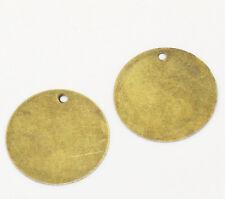 20 x redondo vacías Colgante Charm colores bronce 20mm Aleación de cinc antigua