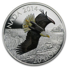 2014 1 oz Silver Canadian $20 Soaring Bald Eagle Coin - Box and Certificate