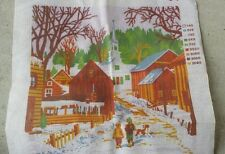 Needlepoint Kit Barn Church Winter Buildings Town Snow Trees Nature Stitch Sew