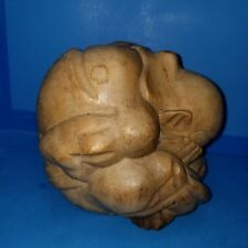 Large Weeping Crying Buddha Warrior Wood Carving about 6 to 7 inches