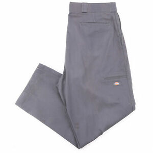 DICKIES Double Knee Grey Cotton Regular Straight Trousers Mens W40 L32