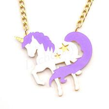 Cartoon Unicorn Necklaces Pendants Gold Chain Acrylic Horse Charm Women Jewelry