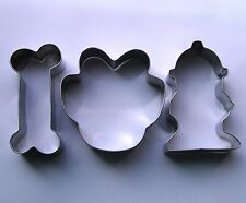 Dog Bone Paw Hydrant Biscuit Cookie Cutter Set Fondant Steel Baking mold