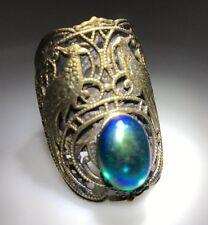 New 1960's Pearly Green Turmaline  Stone Gold Tone DESIGNER Kim Craftsmen Ring