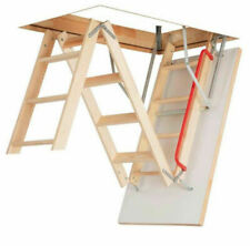 Floor to Ceiling Heights up to 2.8m Frame 1100 x 700mm Free Next Working Day Delivery! Deluxe Wooden Loft Ladder with Twin Handrails