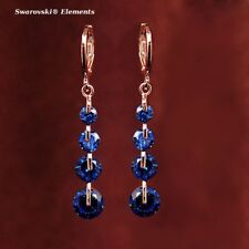 Boucles d'oreille pendantes dorées or rose 4 rangées Swarovski® Elements bleus