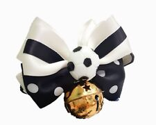 CAT COLLAR BIG RIBBON BOW TIE SOCCER BALL WITH BIG BELLE HANDMADE