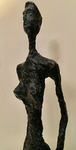 WOMAN STANDING PURE BRONZE LOST WAX SCULPTURE UNIQUE ABSTRACT ART MADE IN UK