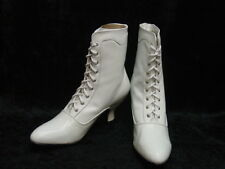 White Oak Tree Farms Veil Victorian Wedding lace up Granny boots size 10 NEW