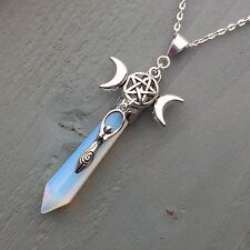 Triple Moon Pentagram Goddess Charmed Long Opalite Point Pendant Wicca Pagan