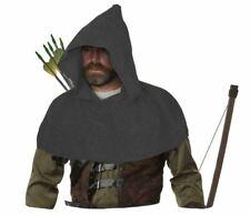 Adults Dusky Grey Medieval Archers Cowl Fleece Arrow Hood Role Playing Cosplay