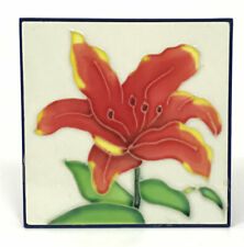 "Red Iris Flower Decorative Hand Painted Ceramic Tile 4""x 4"" Table Mount"