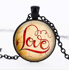 Valentines Love Necklace photo Glass Dome black Chain Pendant Necklace wholesale