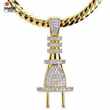 Men's 14kt Gold Plated CZ Mini Plug Pendant Miami Cuban Chain Set BCH 1161 G