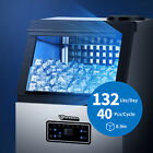 ANBULL Commercial Ice Maker 220V 132lbs Tabletop Water Filter with Storage Quiet photo