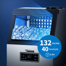 Anbull Commercial Ice Maker 220v 132lbs Tabletop Water Filter With Storage Quiet