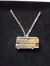 "Double Decker Bus English Pewter On 18"" Silver Plated Curb Chain Necklace cw28"