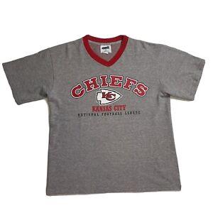 Vintage 1998 Kansas City Chiefs NFL Nutmeg T-Shirt Size Large V-Neck Made In USA