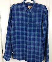 Brooks Brothers Red Fleece Mens 100% Linen Button Front Blue Checks Shirt Size S