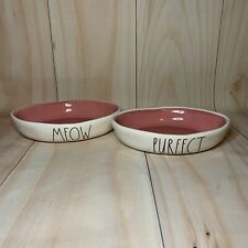 Rae Dunn Meow Purfect Shallow Cat Bowls Pink Interior