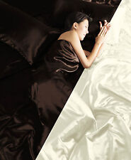 6PC SATIN COMPLETE DUVET COVER FITTED SHEET BEDDING SET SINGLE DOUBLE KING BLACK