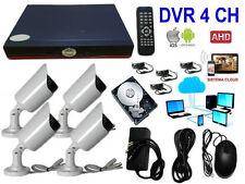 KIT VIDEOSORVEGLIANZA AHD IP CLOUD DVR 4 CANALI 4 TELECAMERE HD INFRAROSSI 500GB